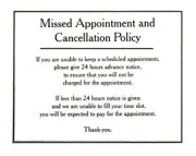 Missed Appointment and Cancellation Policy Sign