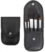 5-Piece Black Brush Set with Snap Front Case, Black