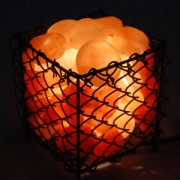 Square Basket w/ 6 Himalayan Salt Massage Stones