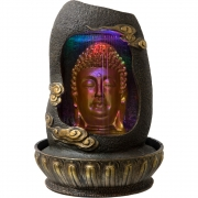 Gold Buddha Head Fountain in Cave with Colored Lights