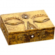 Carved Wood Box - Eye of Buddha Gold