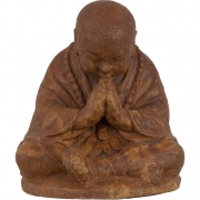 Concrete Cast Statue Praying Monk Brown