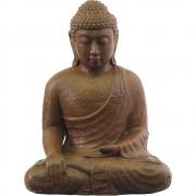 Concrete Cast Statue Buddha Touching the Earth Brown
