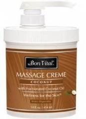 Bon Vital Coconut Massage Creme Jar w/ Pump - 14 oz.