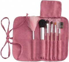6-Piece Brush Set with Roll & Tie Pouch, Pink