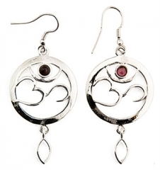 Om Symbol with Garnet White Metal Earrings - 1in Diameter