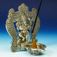 White Metal Incense Sticks and Cone Burner Ganesh