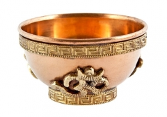 Copper Offerings Bowl - Om Symbol 2.5 in deep 4 in diameter