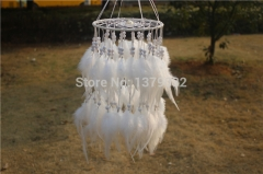 White Feather Pearl Dreamcatcher Wind Chimes Indian Style WZY-7