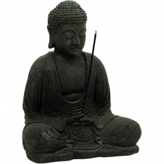 Volcanic Stone Statue & Incense Holder Meditating Buddha Black