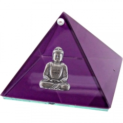 4-inch Glass Pyramid Box - Buddha - Purple