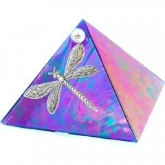 2-inch Glass Pyramid Box Dragonfly Blue Iridescent