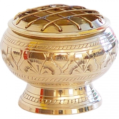 Brass Incense Burner with Grid Engraved Flowers