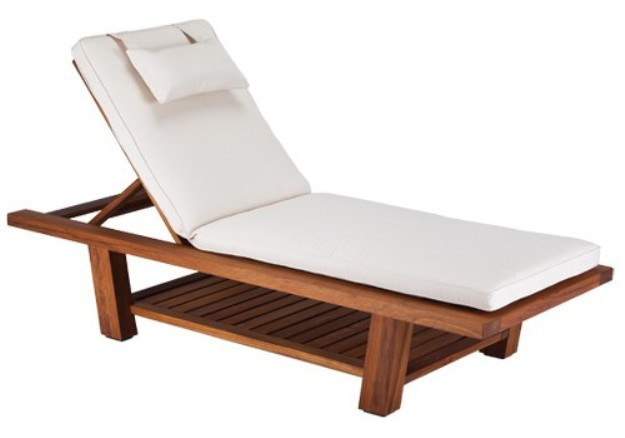 Teak chaise lounger relaxation loungers living earth crafts - Chaise massage electrique ...