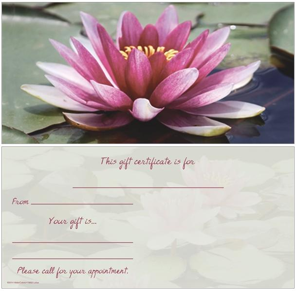 Organic Beauty Products >> Lotus Flower Non-Folded Gift Certificate - Anytime Year Around