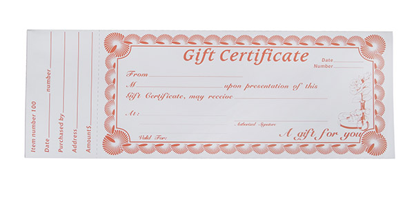 blank gift certificate pad