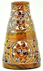 Sun Carved Stone Aroma Lamp in Yellow