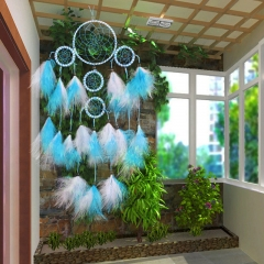 Handmade Dreamcatcher 5 loop White & Blue Feathers 93505