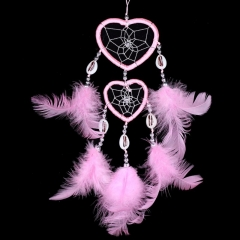 Handmade Two Pink Heart Dream Catcher with Feather (small) TP0276P