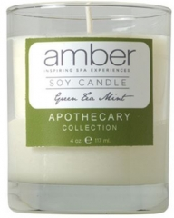 Amber Green Tea Mint Soy Candle