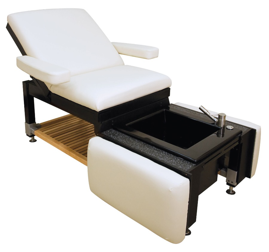 Clodagh libra massage table pedicure station spas oakworks for Nail table and chairs
