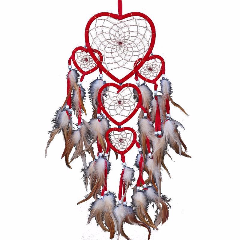 Handmade love heart dream catcher mesh net with feathers for High chair net catcher